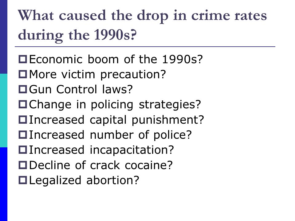 What caused the drop in crime rates during the 1990s.