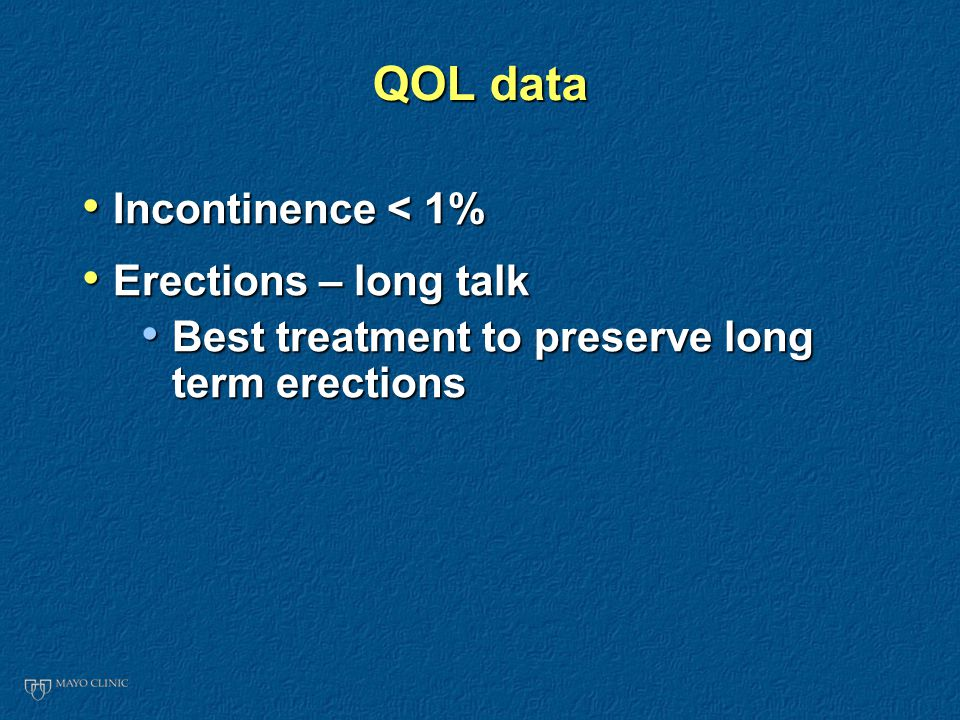 QOL data Incontinence < 1% Incontinence < 1% Erections – long talk Erections – long talk Best treatment to preserve long term erections Best treatment