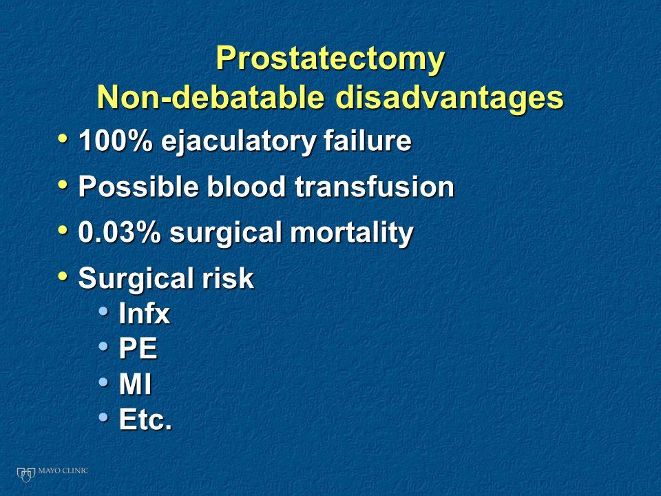 Prostatectomy Non-debatable disadvantages 100% ejaculatory failure 100% ejaculatory failure Possible blood transfusion Possible blood transfusion 0.03% surgical mortality 0.03% surgical mortality Surgical risk Surgical risk Infx Infx PE PE MI MI Etc.
