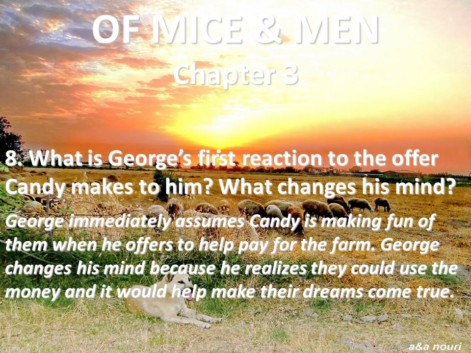 8. What is George's first reaction to the offer Candy makes to him? What changes his mind? George immediately assumes Candy is making fun of them when