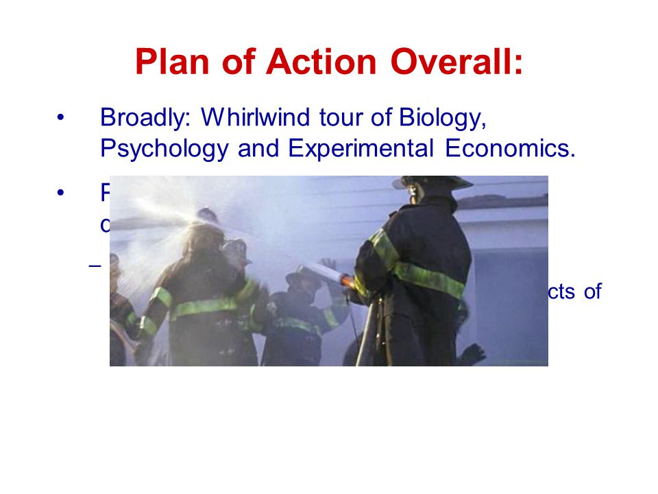 Plan of Action Overall: Broadly: Whirlwind tour of Biology, Psychology and Experimental Economics.
