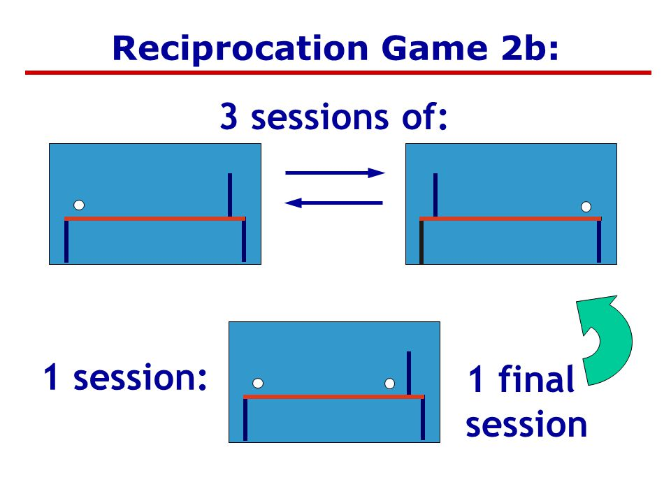 One fixed session 1 final session Reciprocation Game 2b: 3 sessions of: 1 session: