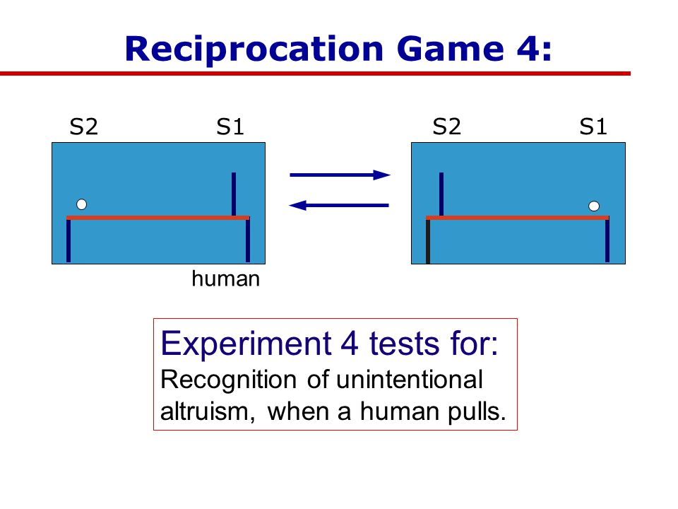 Play with Humans Reciprocation Game 4: Experiment 4 tests for: Recognition of unintentional altruism, when a human pulls.