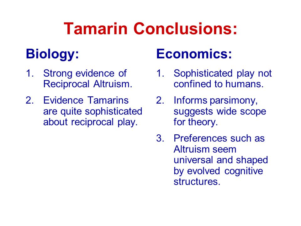 Tamarin Conclusions: Biology: 1.Strong evidence of Reciprocal Altruism.