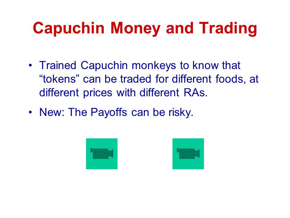 Capuchin Money and Trading Trained Capuchin monkeys to know that tokens can be traded for different foods, at different prices with different RAs.