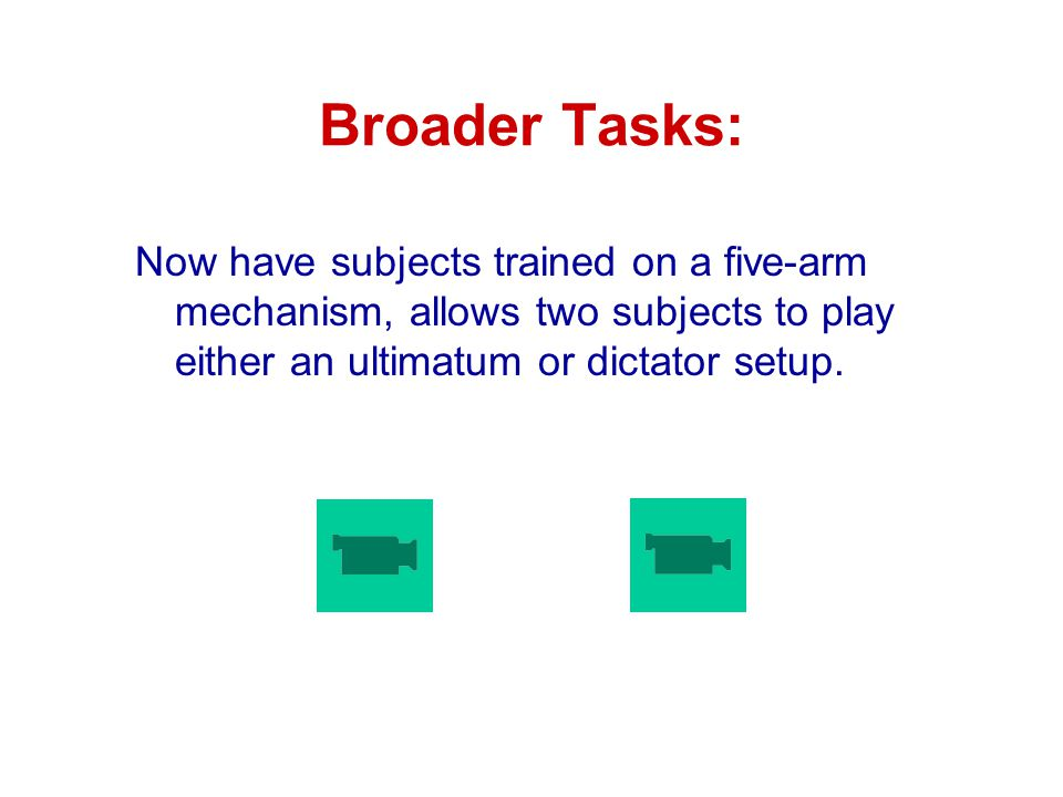 Broader Tasks: Now have subjects trained on a five-arm mechanism, allows two subjects to play either an ultimatum or dictator setup.