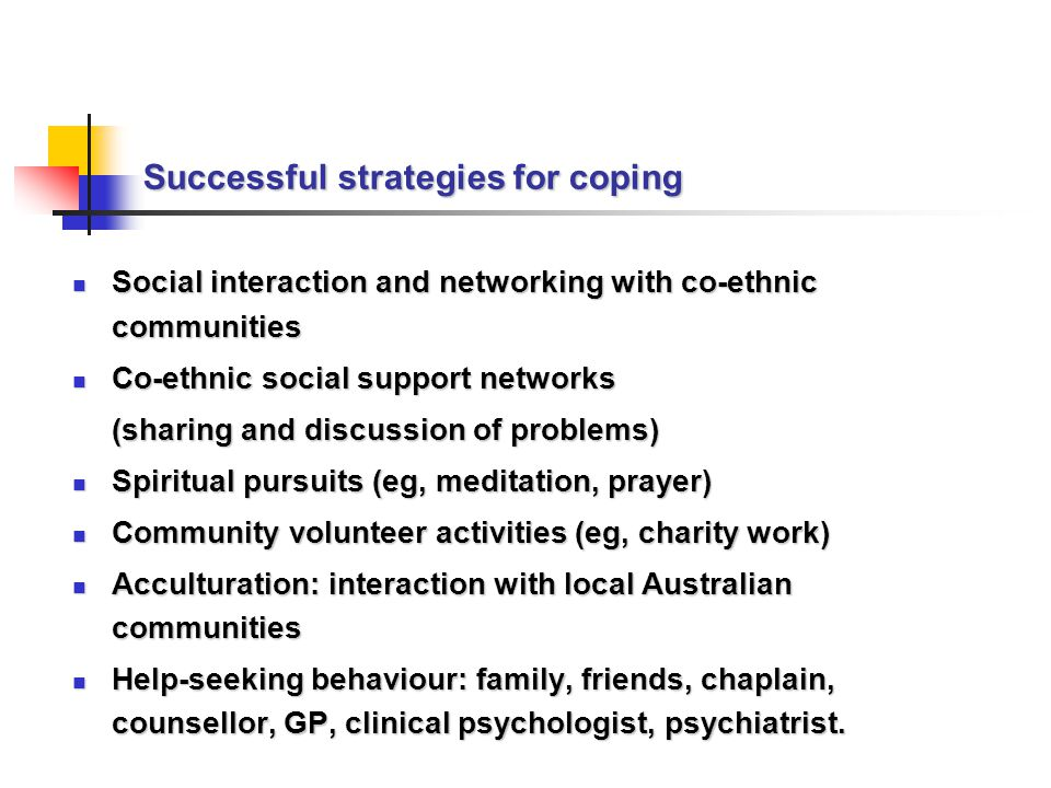 Successful strategies for coping Social interaction and networking with co-ethnic communities Social interaction and networking with co-ethnic communities Co-ethnic social support networks Co-ethnic social support networks (sharing and discussion of problems) Spiritual pursuits (eg, meditation, prayer) Spiritual pursuits (eg, meditation, prayer) Community volunteer activities (eg, charity work) Community volunteer activities (eg, charity work) Acculturation: interaction with local Australian communities Acculturation: interaction with local Australian communities Help-seeking behaviour: family, friends, chaplain, counsellor, GP, clinical psychologist, psychiatrist.