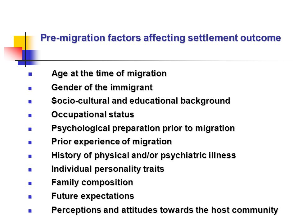 Pre-migration factors affecting settlement outcome Age at the time of migration Gender of the immigrant Gender of the immigrant Socio-cultural and educational background Socio-cultural and educational background Occupational status Occupational status Psychological preparation prior to migration Psychological preparation prior to migration Prior experience of migration Prior experience of migration History of physical and/or psychiatric illness History of physical and/or psychiatric illness Individual personality traits Individual personality traits Family composition Family composition Future expectations Future expectations Perceptions and attitudes towards the host community Perceptions and attitudes towards the host community