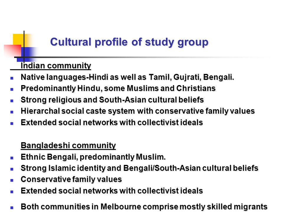 Cultural profile of study group Indian community Native languages-Hindi as well as Tamil, Gujrati, Bengali.