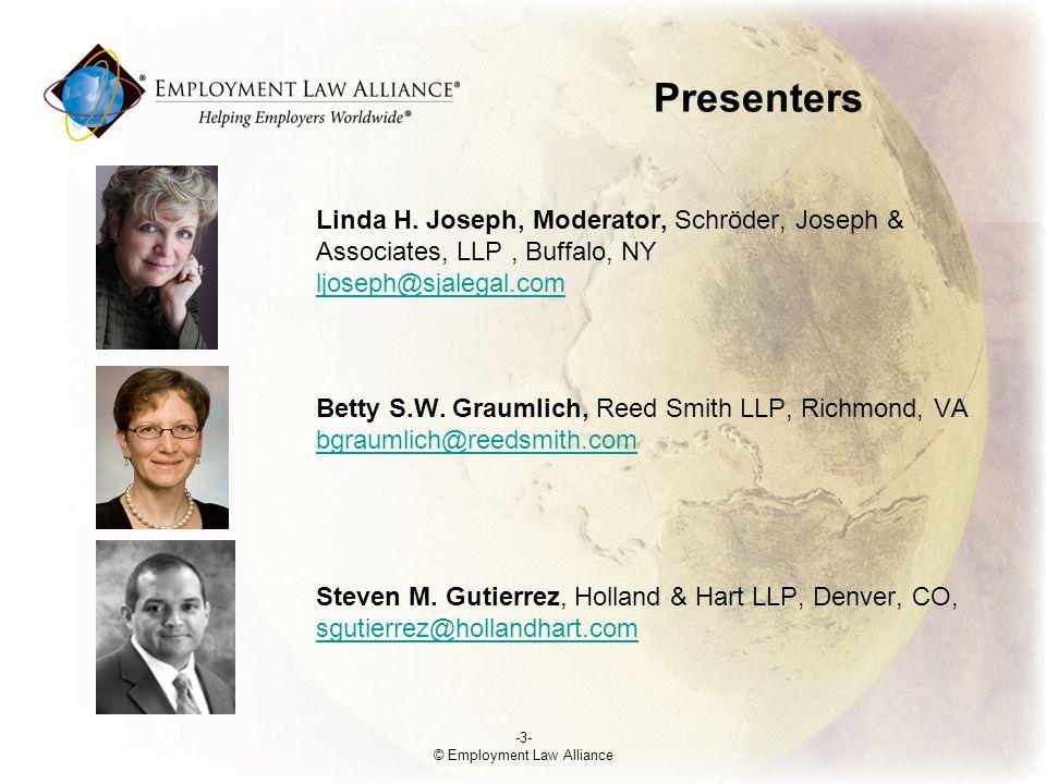 Presenters Linda H. Joseph, Moderator, Schröder, Joseph & Associates, LLP, Buffalo, NY ljoseph@sjalegal.com Betty S.W. Graumlich, Reed Smith LLP, Rich