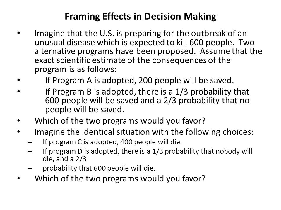 Decision making Outbreak problem shows that decision- making not purely rational process.