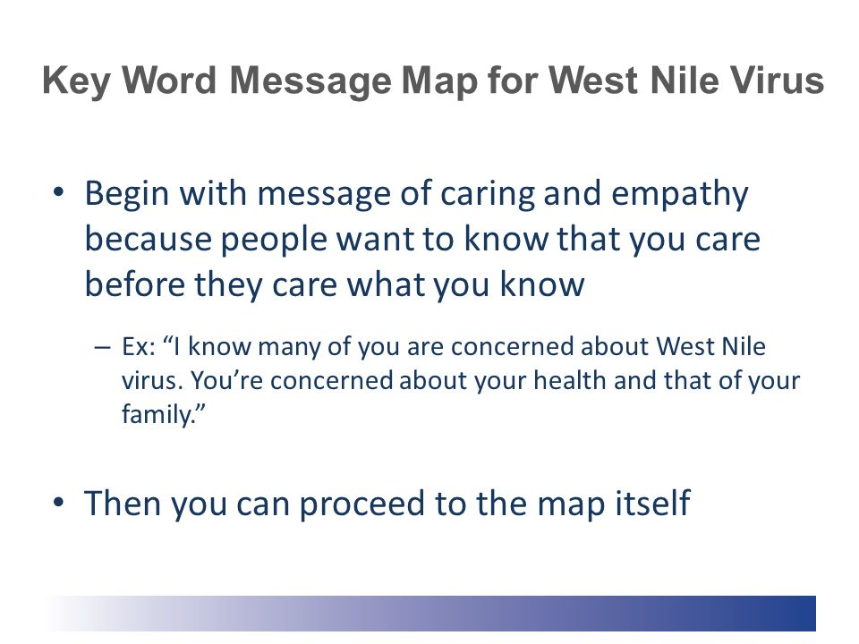 Key Word Message Map for West Nile Virus Begin with message of caring and empathy because people want to know that you care before they care what you know – Ex: I know many of you are concerned about West Nile virus.