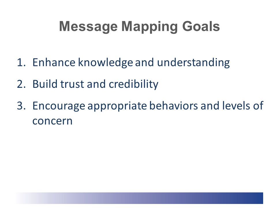 Message Mapping Goals 1.Enhance knowledge and understanding 2.Build trust and credibility 3.Encourage appropriate behaviors and levels of concern