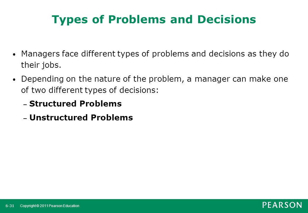 6-32 Copyright © 2011 Pearson Education Types of Problems and Decisions Structured Problems Some problems are straightforward.