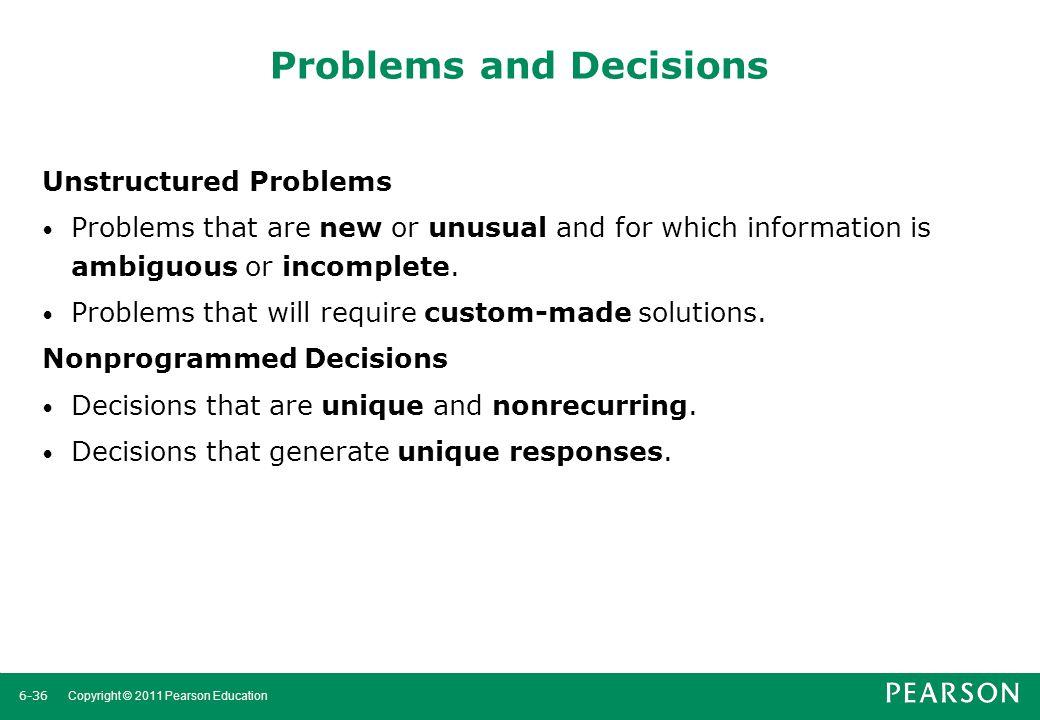 6-37 Copyright © 2011 Pearson Education Exhibit 6–7 Programmed Versus Nonprogrammed Decisions