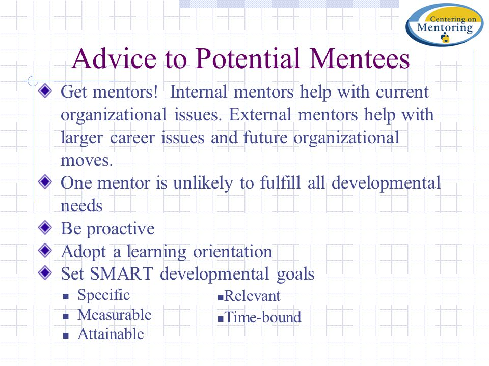 Advice to Potential Mentees Get mentors! Internal mentors help with current organizational issues. External mentors help with larger career issues and