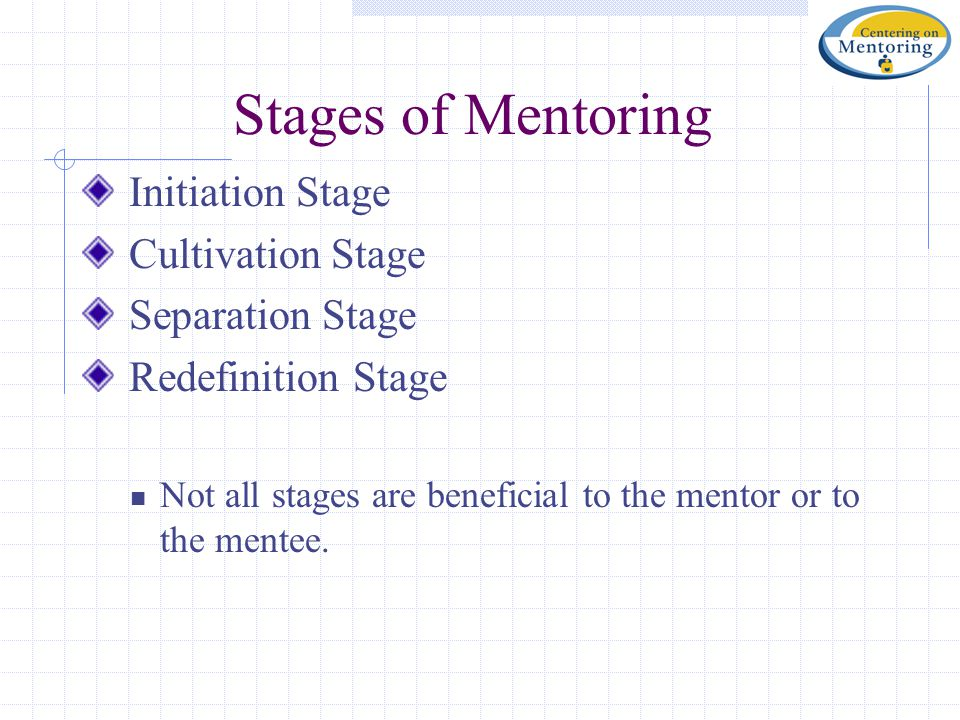 Stages of Mentoring Initiation Stage Cultivation Stage Separation Stage Redefinition Stage Not all stages are beneficial to the mentor or to the mentee.
