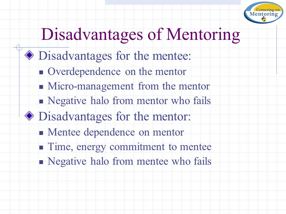 Disadvantages of Mentoring Disadvantages for the mentee: Overdependence on the mentor Micro-management from the mentor Negative halo from mentor who f