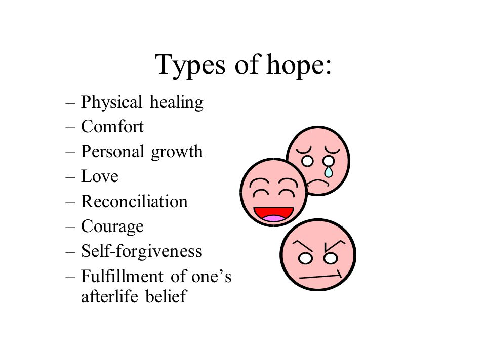 Types of hope: –Physical healing –Comfort –Personal growth –Love –Reconciliation –Courage –Self-forgiveness –Fulfillment of one's afterlife belief