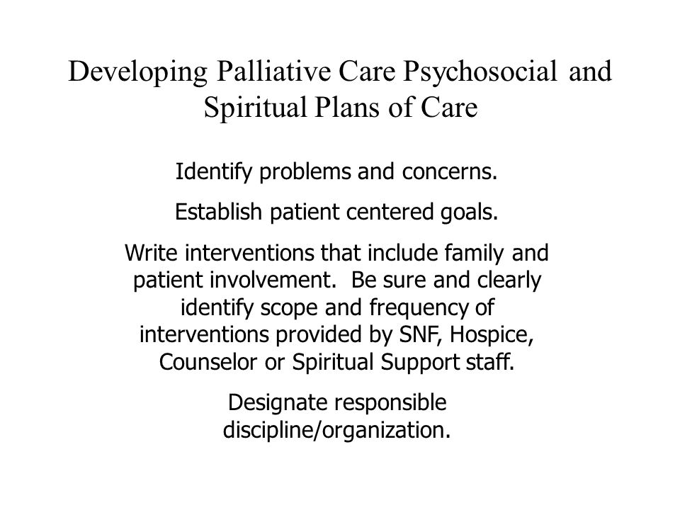Developing Palliative Care Psychosocial and Spiritual Plans of Care Identify problems and concerns. Establish patient centered goals. Write interventi