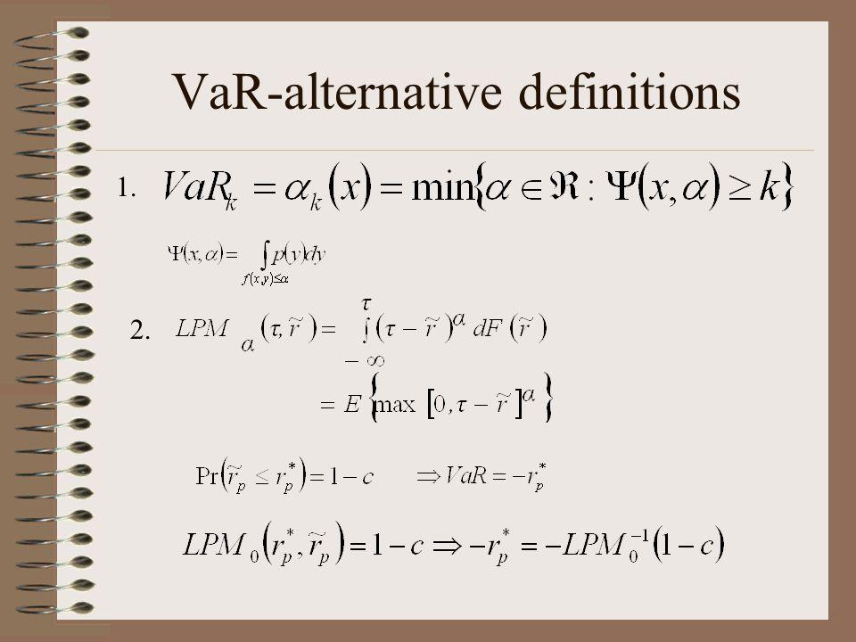 VaR-alternative definitions 1. 2.