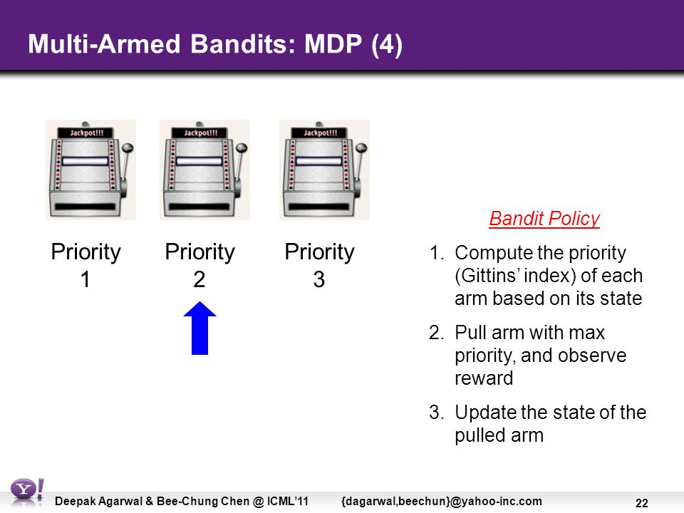 22 Deepak Agarwal & Bee-Chung Chen @ ICML'11 {dagarwal,beechun}@yahoo-inc.com Multi-Armed Bandits: MDP (4) Bandit Policy 1.Compute the priority (Gittins' index) of each arm based on its state 2.Pull arm with max priority, and observe reward 3.Update the state of the pulled arm Priority 1 Priority 2 Priority 3