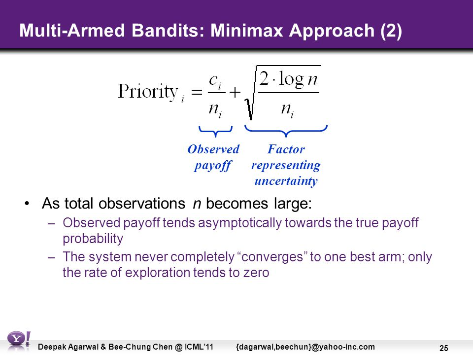 25 Deepak Agarwal & Bee-Chung Chen @ ICML'11 {dagarwal,beechun}@yahoo-inc.com Multi-Armed Bandits: Minimax Approach (2) As total observations n becomes large: –Observed payoff tends asymptotically towards the true payoff probability –The system never completely converges to one best arm; only the rate of exploration tends to zero Observed payoff Factor representing uncertainty
