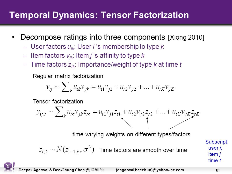 51 Deepak Agarwal & Bee-Chung Chen @ ICML'11 {dagarwal,beechun}@yahoo-inc.com Temporal Dynamics: Tensor Factorization Decompose ratings into three components [Xiong 2010] –User factors u ik : User i 's membership to type k –Item factors v jk : Item j 's affinity to type k –Time factors z tk : Importance/weight of type k at time t time-varying weights on different types/factors Regular matrix factorization Tensor factorization Time factors are smooth over time Subscript: user i, item j time t