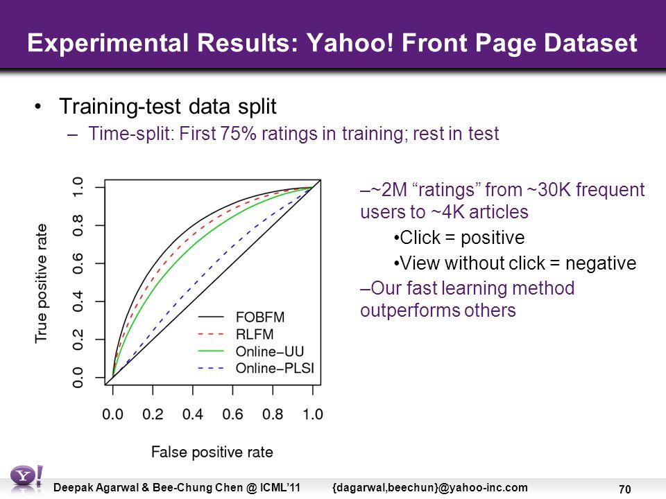 70 Deepak Agarwal & Bee-Chung Chen @ ICML'11 {dagarwal,beechun}@yahoo-inc.com Experimental Results: Yahoo.