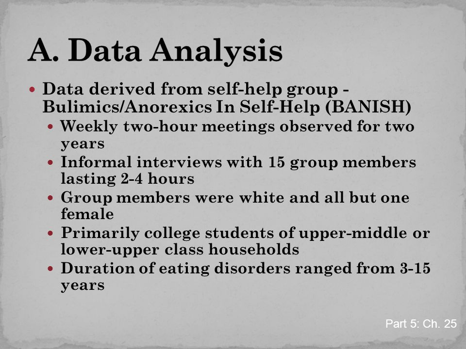 Data derived from self-help group - Bulimics/Anorexics In Self-Help (BANISH) Weekly two-hour meetings observed for two years Informal interviews with 15 group members lasting 2-4 hours Group members were white and all but one female Primarily college students of upper-middle or lower-upper class households Duration of eating disorders ranged from 3-15 years Part 5: Ch.