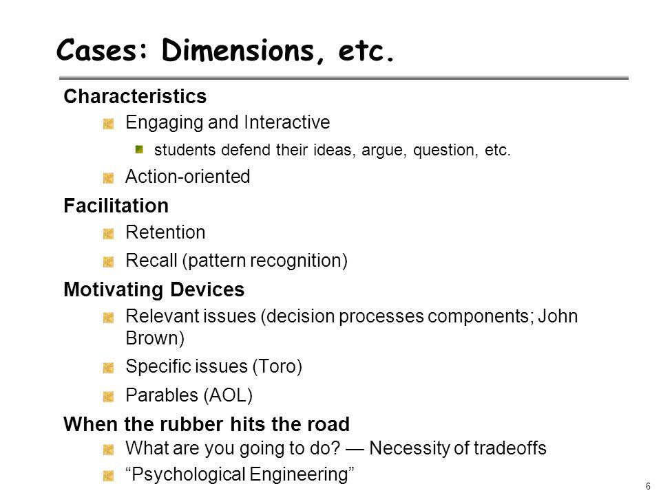 6 Cases: Dimensions, etc.