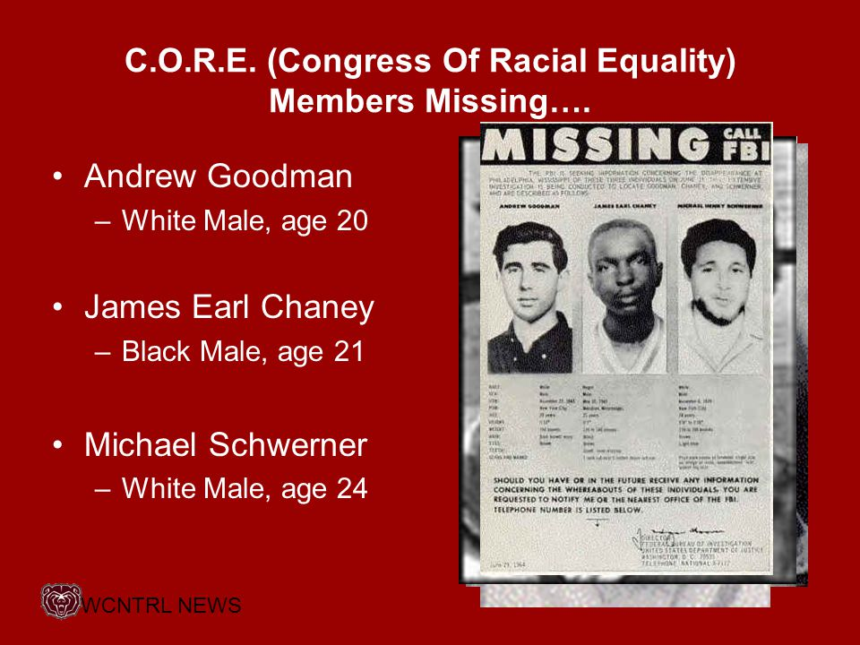 C.O.R.E. (Congress Of Racial Equality) Members Missing….