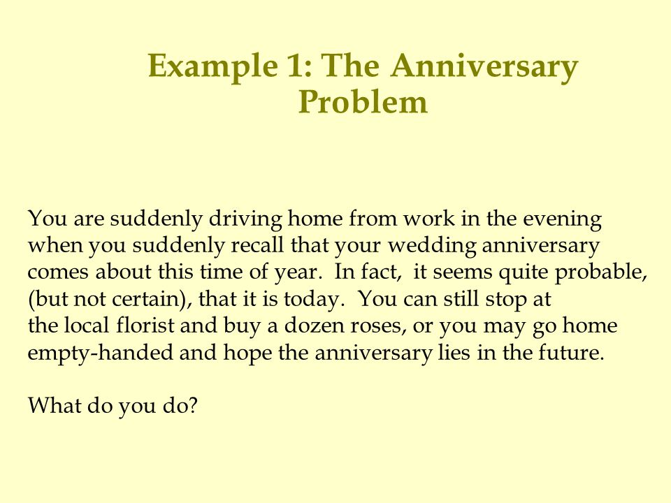 Example 1: The Anniversary Problem You are suddenly driving home from work in the evening when you suddenly recall that your wedding anniversary comes