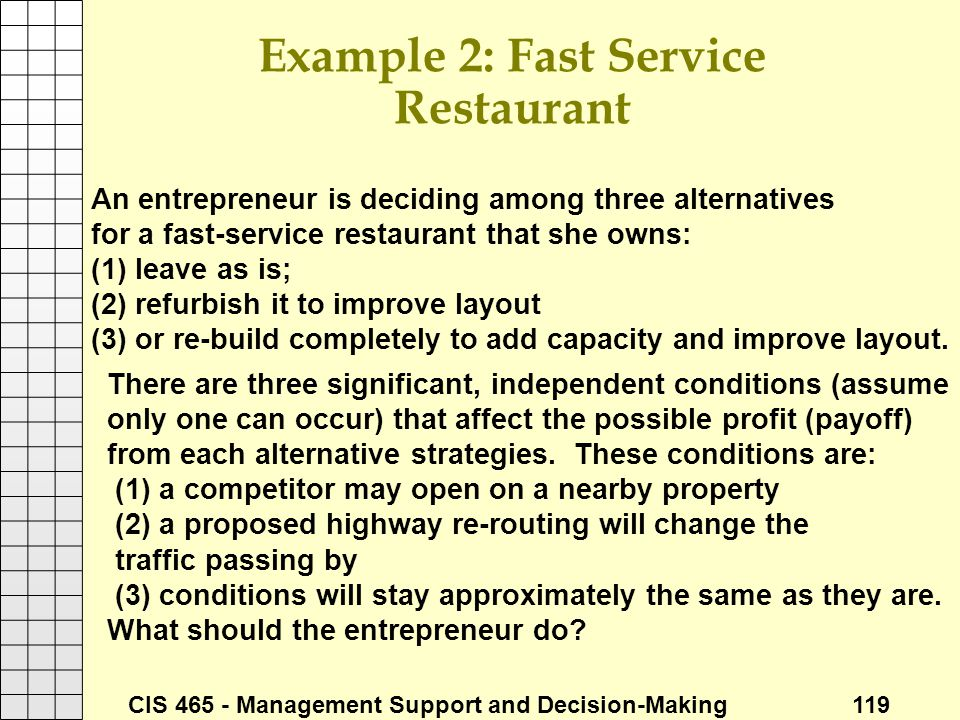 CIS 465 - Management Support and Decision-Making 119 Example 2: Fast Service Restaurant An entrepreneur is deciding among three alternatives for a fas