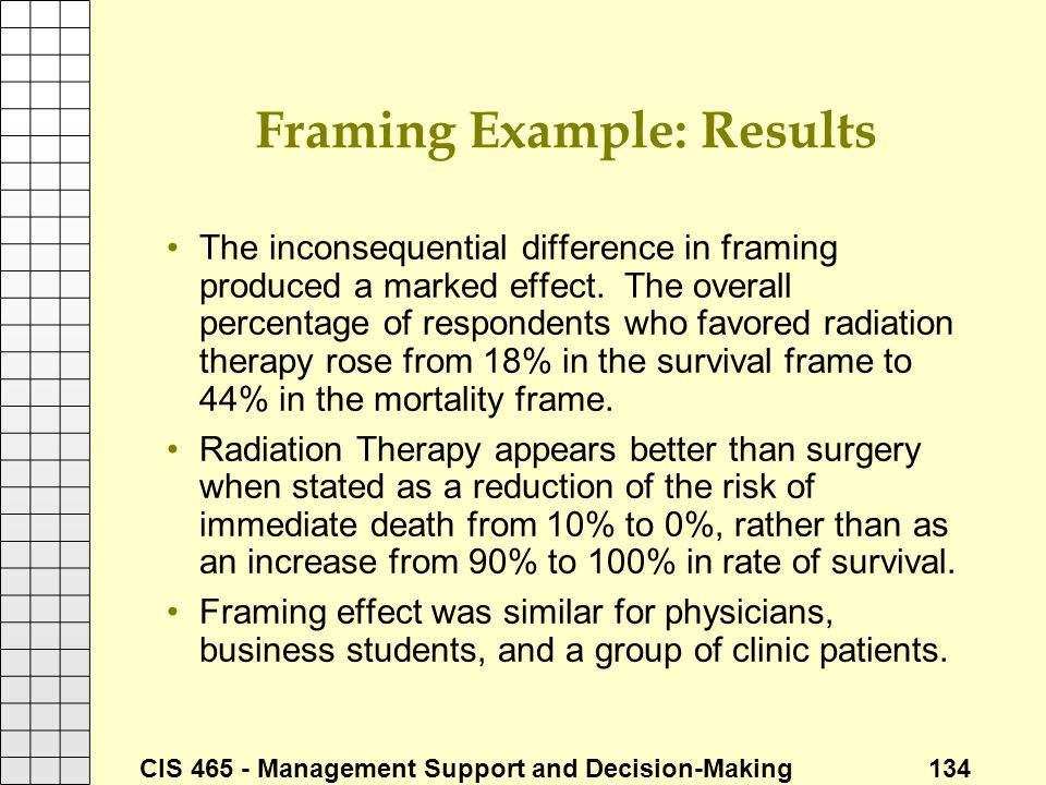CIS 465 - Management Support and Decision-Making 134 Framing Example: Results The inconsequential difference in framing produced a marked effect. The