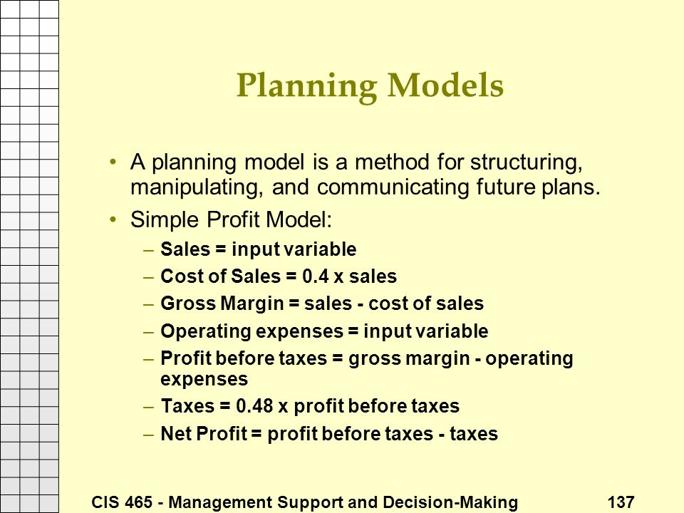 CIS 465 - Management Support and Decision-Making 137 Planning Models A planning model is a method for structuring, manipulating, and communicating fut