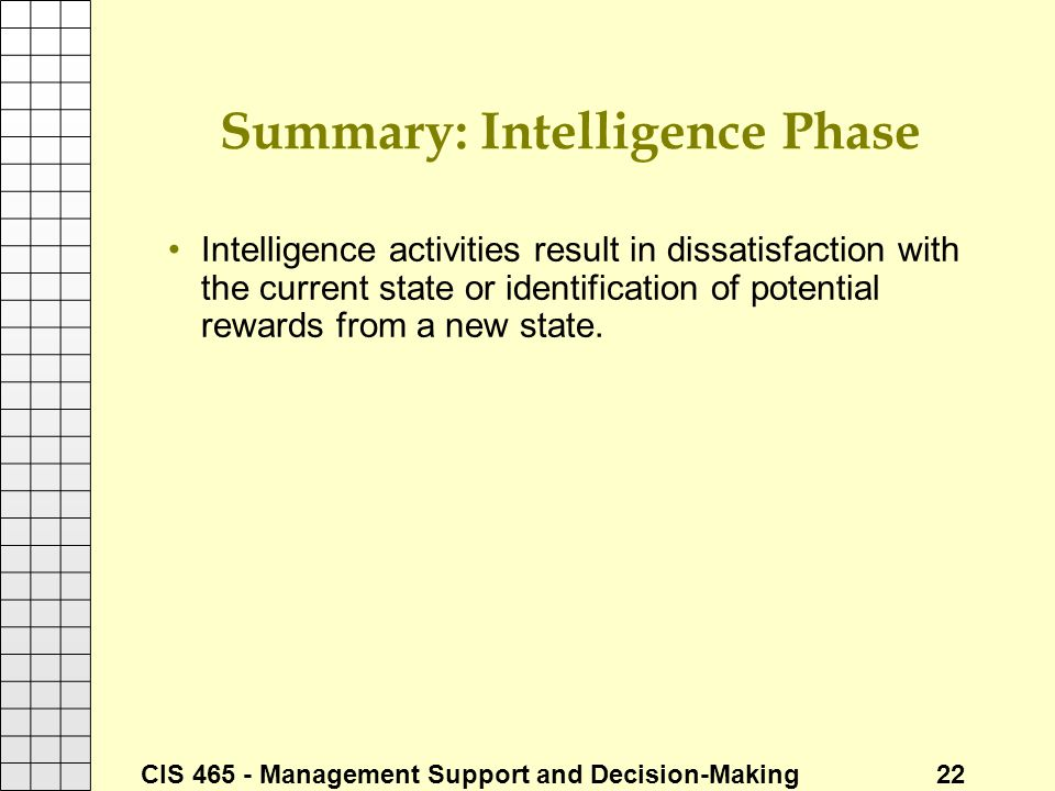 CIS 465 - Management Support and Decision-Making 22 Summary: Intelligence Phase Intelligence activities result in dissatisfaction with the current sta