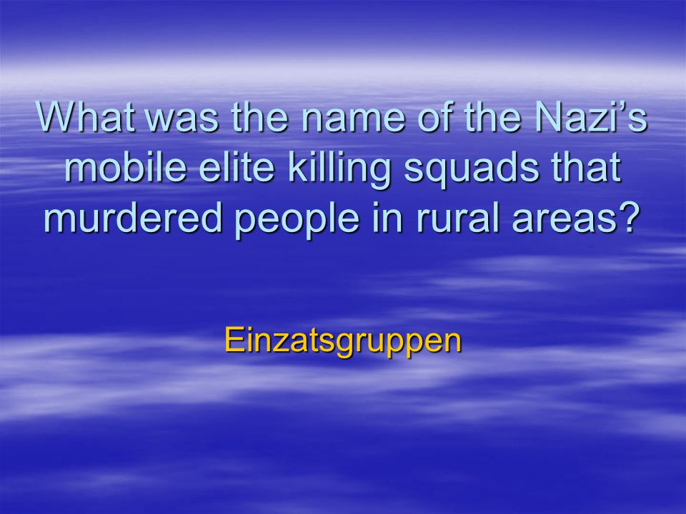 What was the name of the Nazi's mobile elite killing squads that murdered people in rural areas.