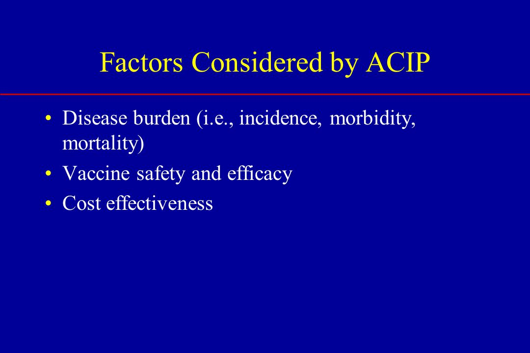 Disease burden (i.e., incidence, morbidity, mortality) Vaccine safety and efficacy Cost effectiveness Factors Considered by ACIP