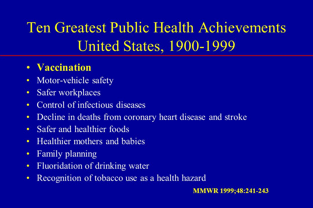 Ten Greatest Public Health Achievements United States, 1900-1999 Vaccination Motor-vehicle safety Safer workplaces Control of infectious diseases Decline in deaths from coronary heart disease and stroke Safer and healthier foods Healthier mothers and babies Family planning Fluoridation of drinking water Recognition of tobacco use as a health hazard MMWR 1999;48:241-243