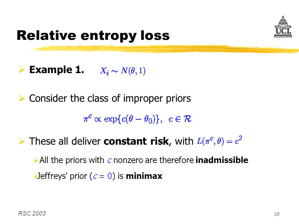 RSC 2003 38 Relative entropy loss  Example 1.