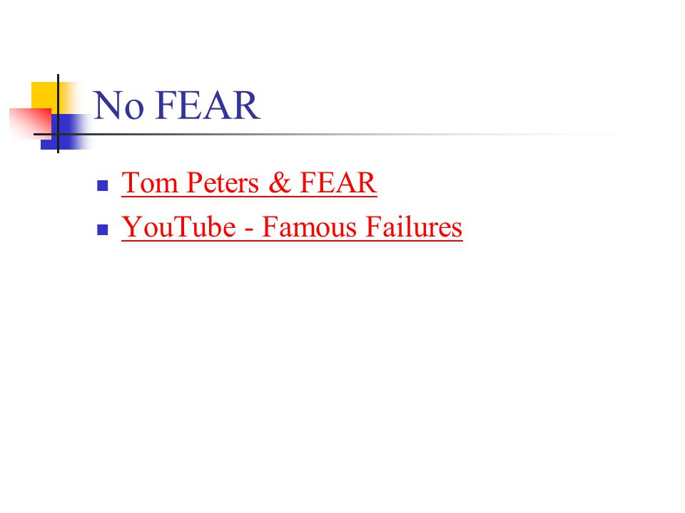 No FEAR Tom Peters & FEAR YouTube - Famous Failures