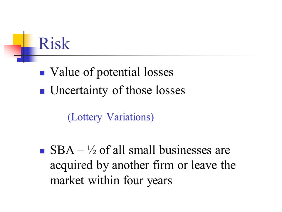 Risk Value of potential losses Uncertainty of those losses (Lottery Variations) SBA – ½ of all small businesses are acquired by another firm or leave the market within four years