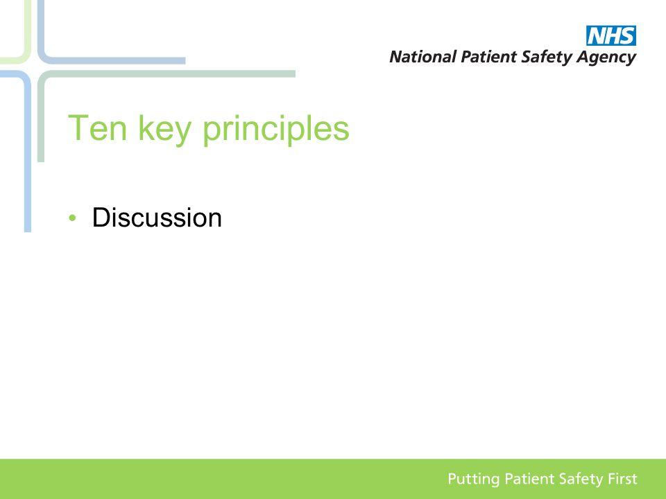 Ten key principles Discussion