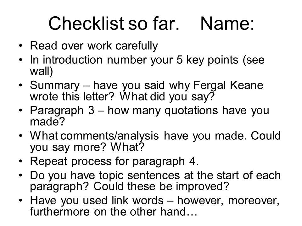 Checklist so far.