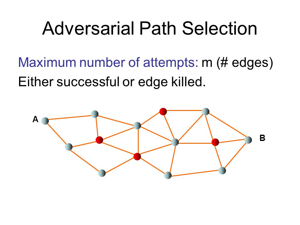 Adversarial Path Selection Maximum number of attempts: m (# edges) Either successful or edge killed.