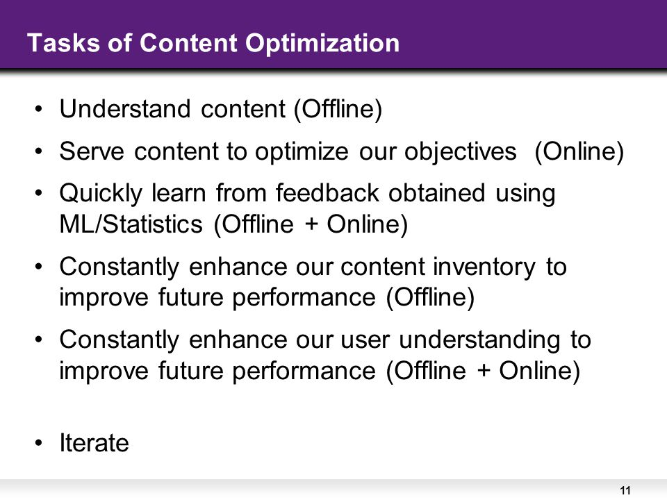 11 Tasks of Content Optimization Understand content (Offline) Serve content to optimize our objectives (Online) Quickly learn from feedback obtained using ML/Statistics (Offline + Online) Constantly enhance our content inventory to improve future performance (Offline) Constantly enhance our user understanding to improve future performance (Offline + Online) Iterate