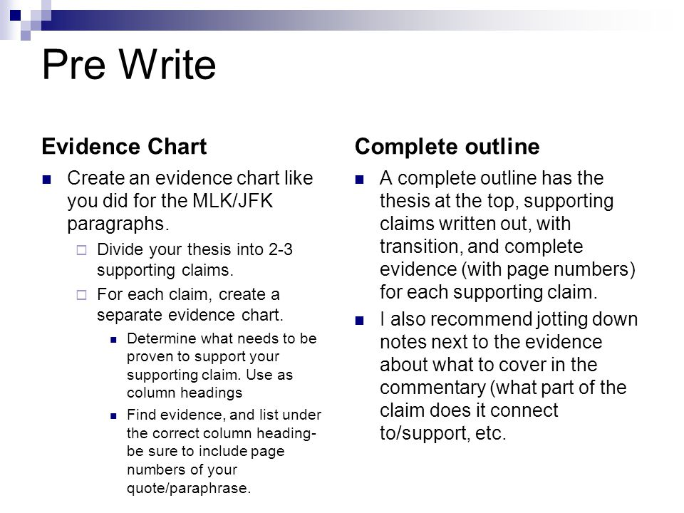 Pre Write Evidence Chart Create an evidence chart like you did for the MLK/JFK paragraphs.