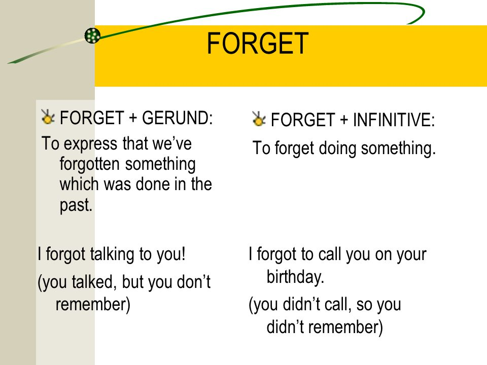 FORGET FORGET + GERUND: To express that we've forgotten something which was done in the past.