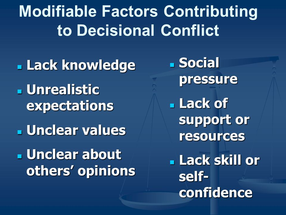Modifiable Factors Contributing to Decisional Conflict Lack knowledge Lack knowledge Unrealistic expectations Unrealistic expectations Unclear values